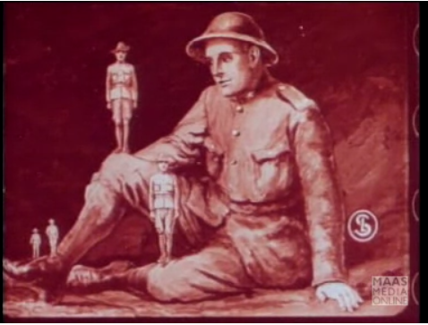 Comparing the number of British soldiers serving in the First World War with the number of soldiers from the Empire countries. Taken from 'Britain's Effort' - a cartoon by Lancelot Speed made in 1918. (From the Imperial War Museum Film and Video Archive)