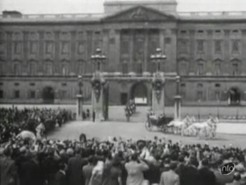 Royal Family being taken in a horse-drawn carriage from Buckingham Palace to St Paul's Cathedral for the Empire Day Service in 1937.