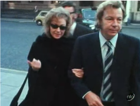 Meredith Hamp arriving at court with her father. Image taken from ITV News at Ten on 19th October 1972.