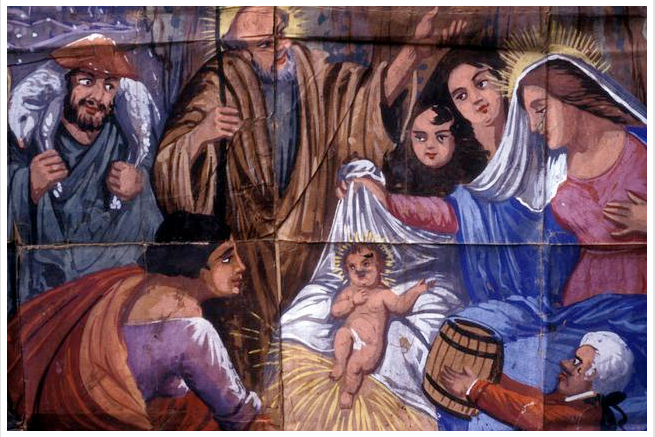 """Image of a Christmas poster with nativity of the """"Opera dei Pupi"""" Sicilian puppets theatre created in 1985."""