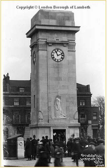 Image of Stockwell war memorial. Built in 1922 as a clock tower and memorial to those who died in World War One.
