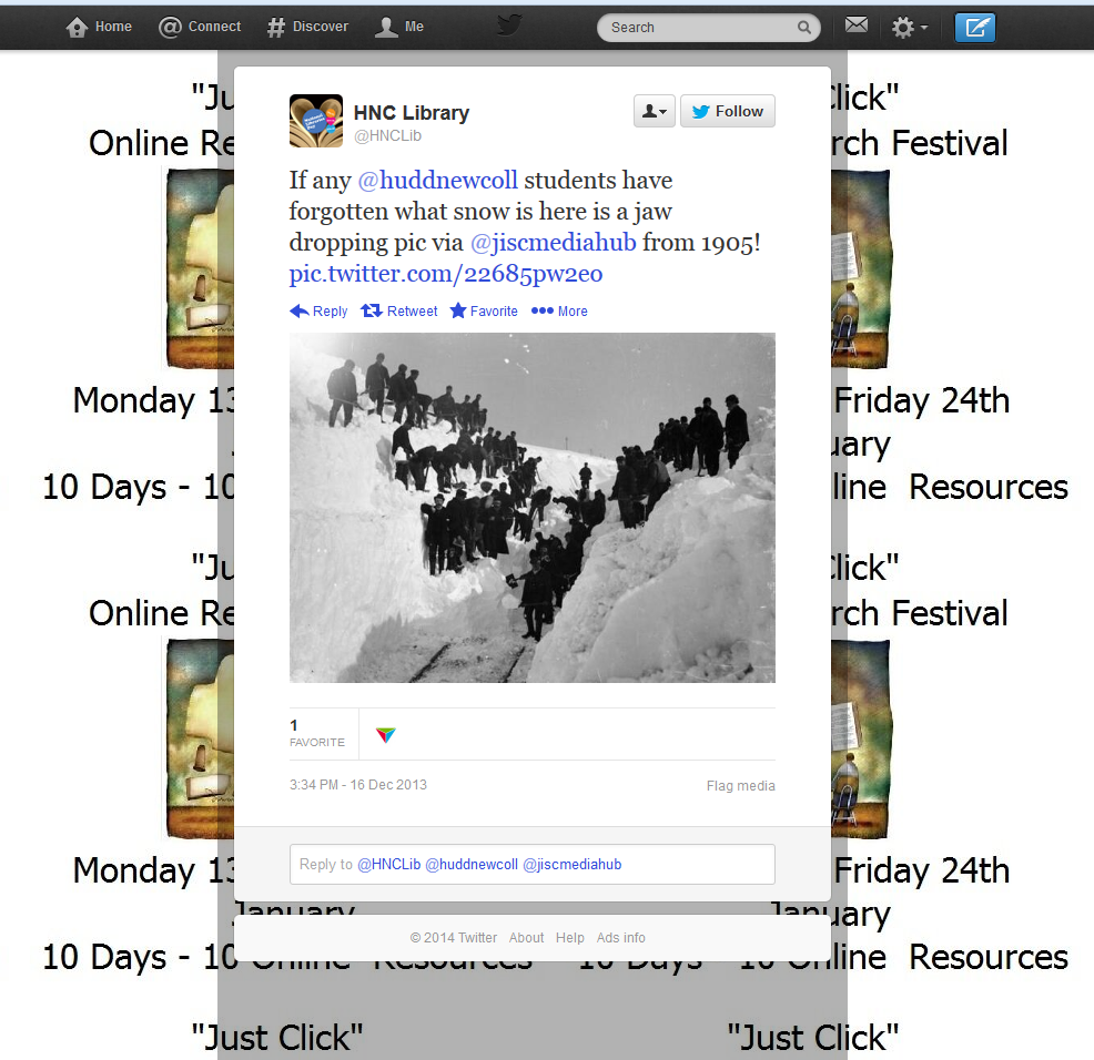 Image taken of a tweet sent by HNC Library (@HNCLib), sent 10th December 2013.