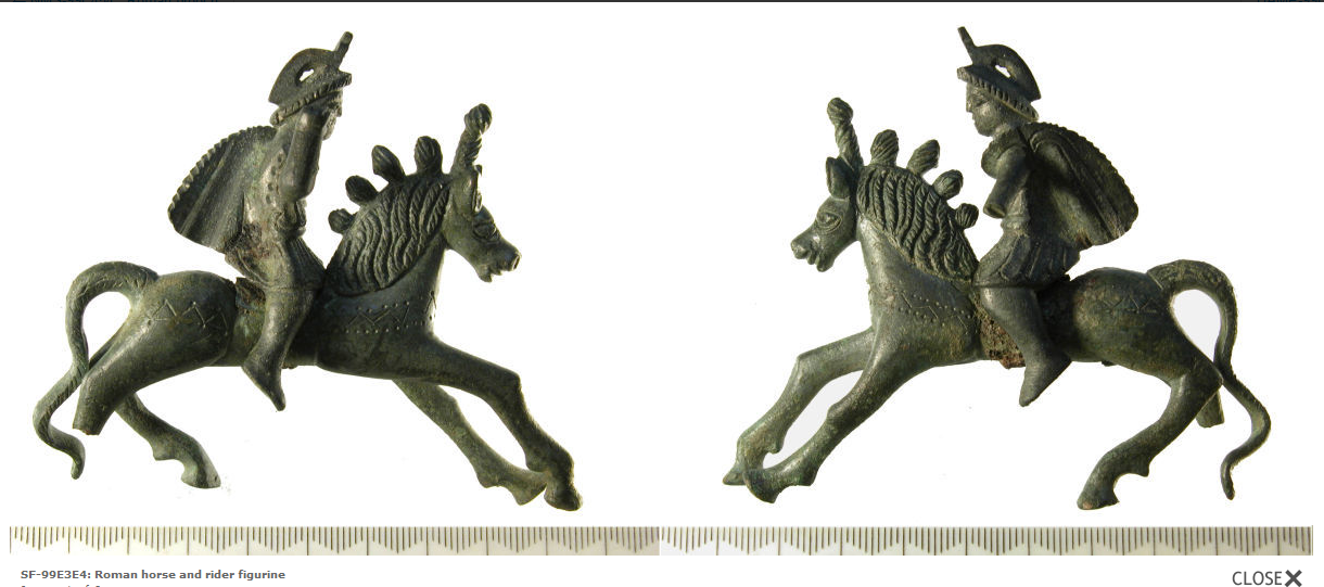 Image of a Roman horse and rider figurine