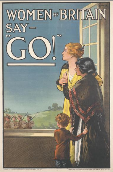 """Image of a WW1 poster saying 'Women of Britain say - """"Go!"""""""
