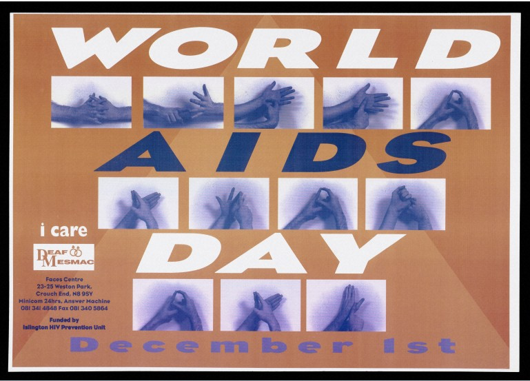 World AIDS Day poster showing hands spelling out World AIDS Day in sign language.