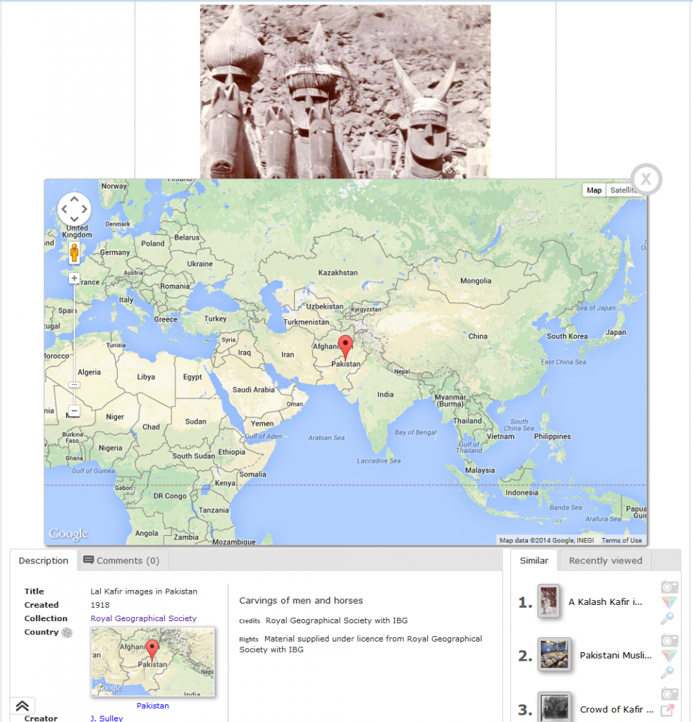 Lal Kafir image and a Google map overlaid showing where the image was taken, in this case Pakistan, on the Jisc MediaHub website.