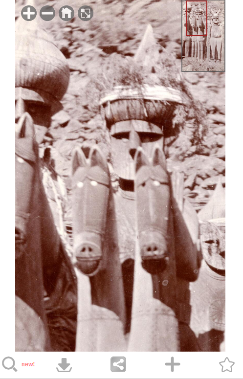 Detail of an image showing Lal Kafir carvings of men and horses in Pakistan. Photograph taken in 1918.