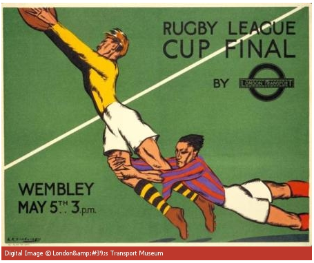 Image of a Rugby League Cup Final poster, designed forTransport for London in 1934.
