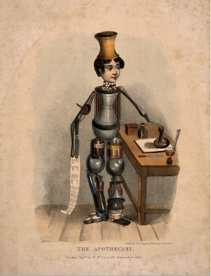 A coloured lithograph of an Arcimboldesque figure comprised of different objects relating to pharmacy.