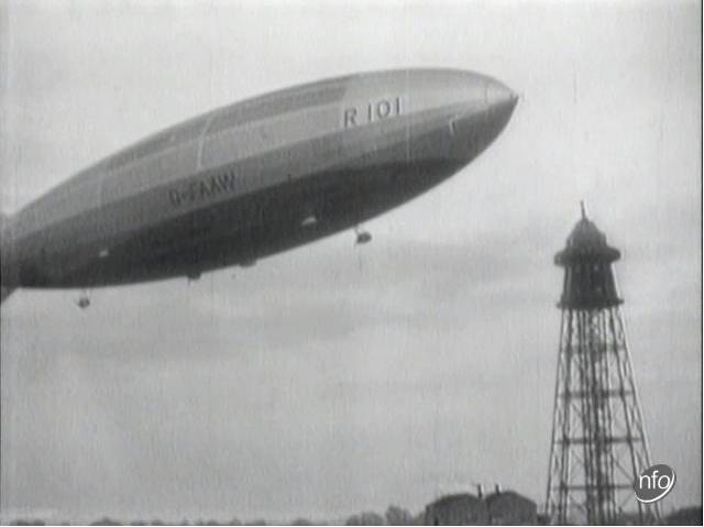 Screenshot of the R 110 Airship in the air, taken from a short film showing the airship's maiden voyage in 1929..