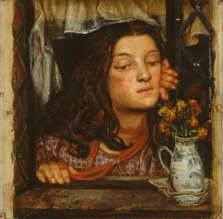 Image of the painting 'Girl at a Lattice' by Dante Gabriel Rossetti, 1862.
