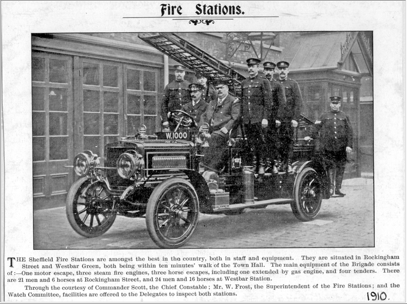 Image of an article from 1910 about the Sheffield Fire Service, with an image of a newly-purchased fire engine and fire crew.Sheffield_Fire_Brigade_1910