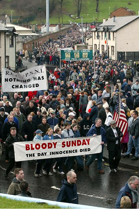 A photograph of some of the thousands gathered in Londonderry 03 February 2002, to retrace the steps of the Bloody Sunday marchers of thirty years ago.