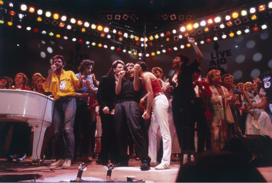 British pop acts gathered on stage for the finale of the Live Aid charity concert at Wembley Stadium in London, 13th July 1985.
