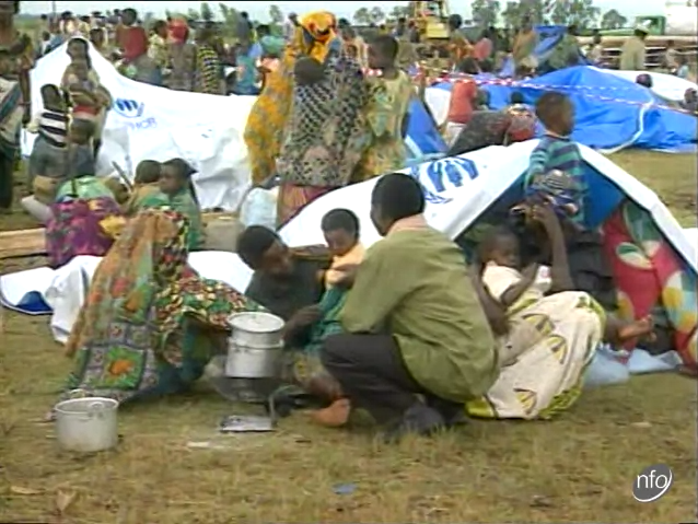 Image of Rwandan refugees in a refugee camp near Goma, Zaire.