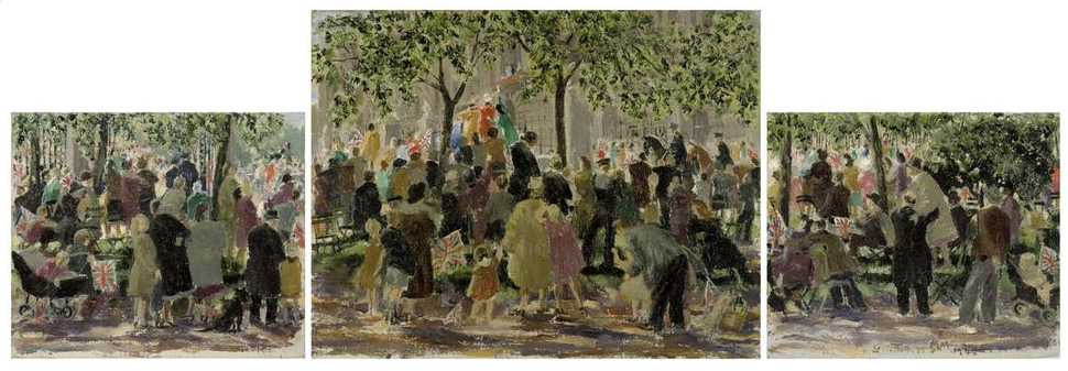 An image of a painted triptych showing civilians gathered under the trees outside Buckingham Palace to celebrate VE Day