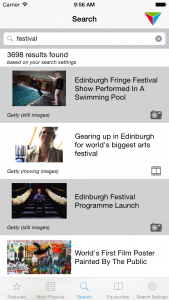 The MediaHub iOS App Search results screen