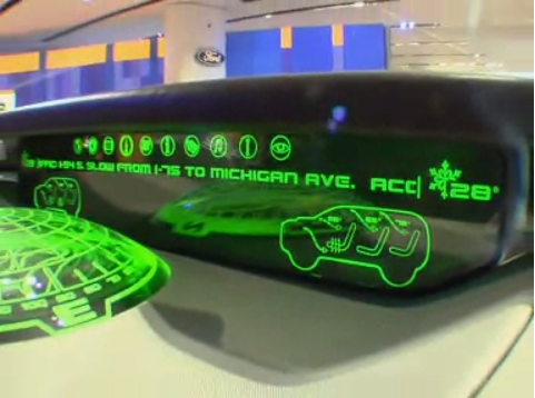 A screenshot of a futuristic dashboard of a Ford Explorer shown at the Detroit Auto Show in 2008.