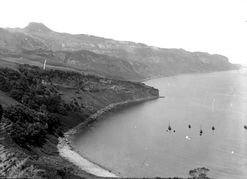 An image taken in 1917 of a coastal view on the east side of the Island of Raasay, looking northwards from Rubha na' Leac, Inverness-shire.