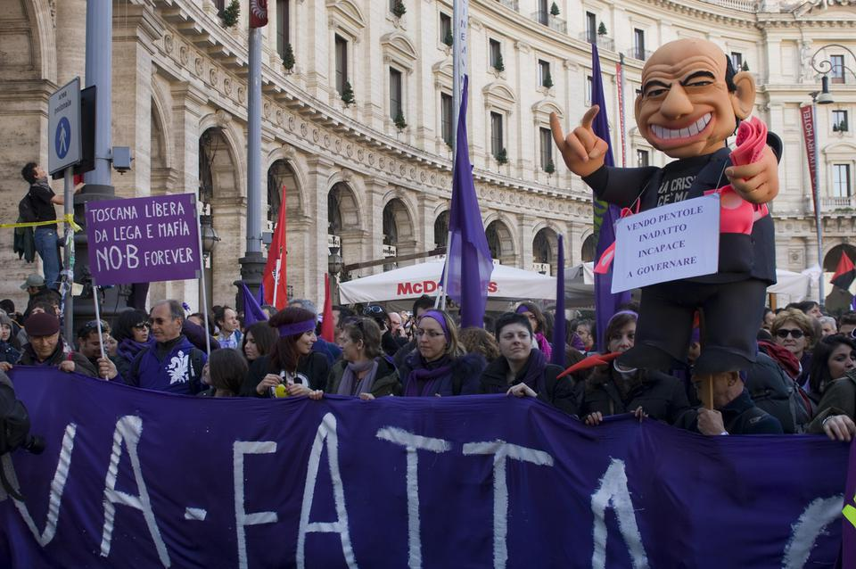 An image taken from the protest, No Berlusconi Day (or Nobday), held in Rome in December 2009. The Nobday is the first political rally against the Prime Minister Silvio Berlusconi to call for the premier's resignation.