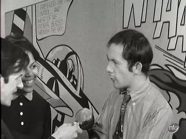 An image taken from an ITV News at Ten report on an American pop art exhibition being held at the Tate London in 1968.