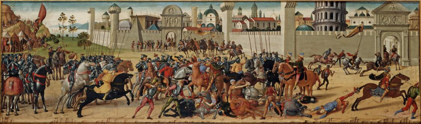 An image of a tempura panel called 'The Death of Hector' by Biagio d'Antonio c. 1490–1495, which depicts a scene from Homer's Iliad showing the Seige of Troy.