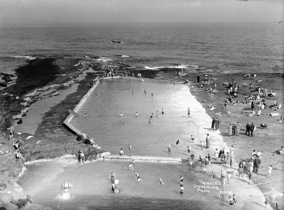 An image taken c. 1935 of The Trinkie, an outdoor swimming pool just off the North Sea and located just south of Wick, Scotland.