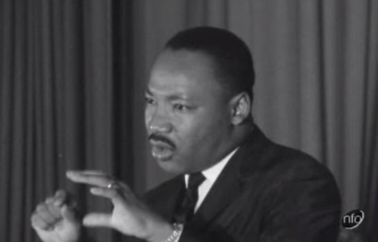 Martin Luther King speaks at City Temple Hall, London Negro Equality: ITV News 07-12-1964