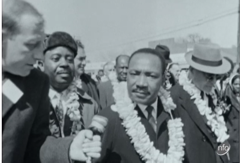 Martin Luther King is interviewed as he marches ITN Reports : 24-03-1965