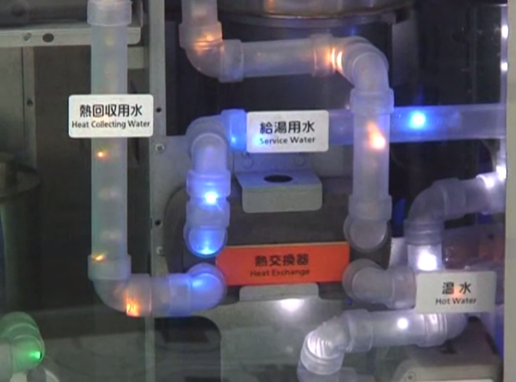 Image of a mini household plumbing system used as a demonstrator of heat exchange technologies.